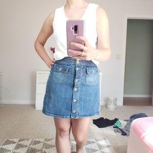 Button up jean mini skirt
